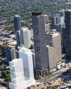 Aerial rendering of 36 Eglinton West Condos by Lifetime Developments.