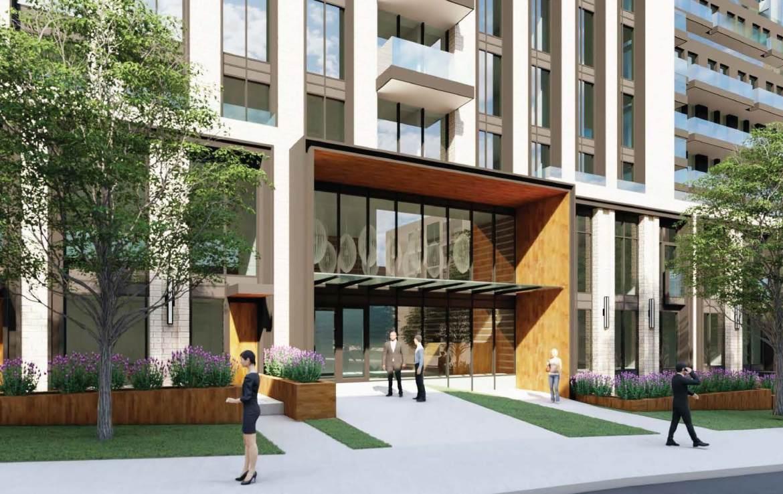 Rendering of 63 Montclair Avenue Condos exterior building entrance.