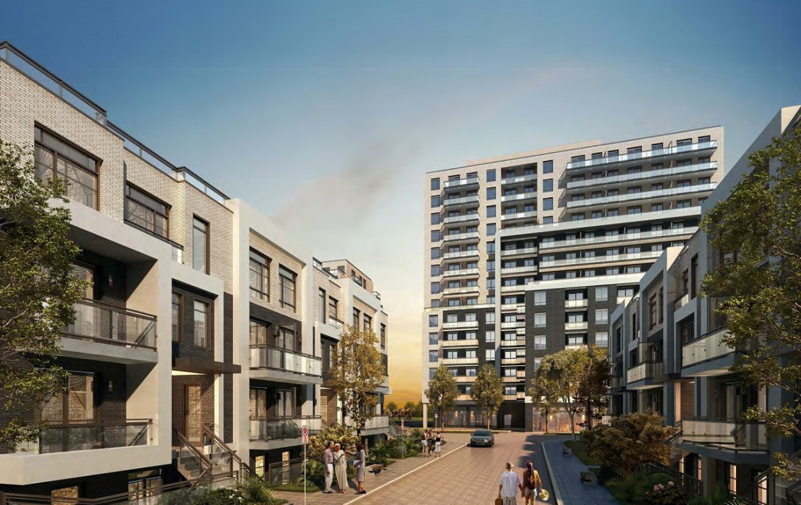 Rendering of 3445 Sheppard East Condos courtyard in the evening.