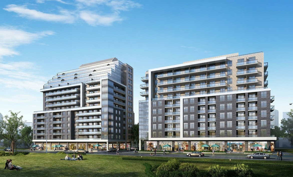 Rendering of 3445 Sheppard East Condos exterior and greenery.