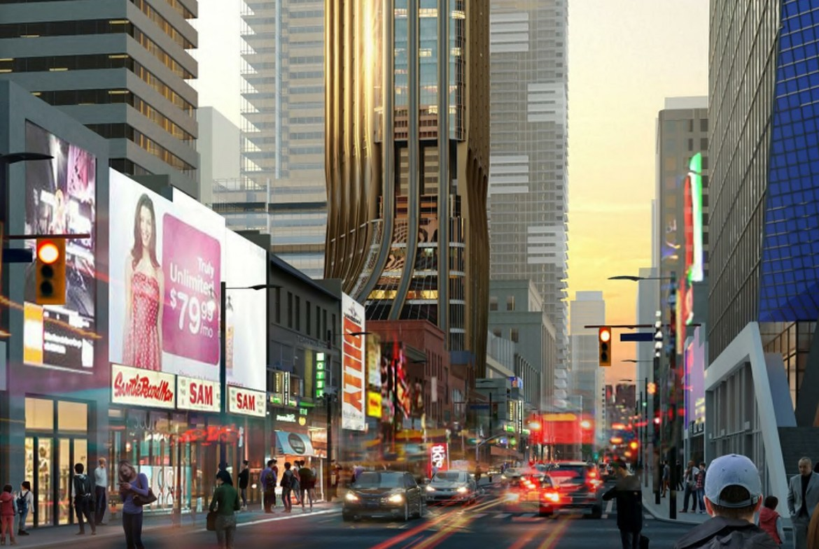 Rendering of 372 Yonge Condos exterior and Toronto's busy streets.