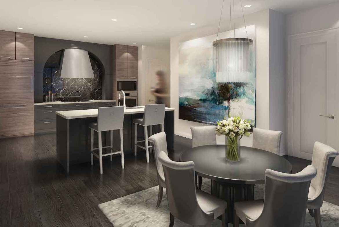 Rendering of 42 Mill St Condos suite kitchen and dining room.
