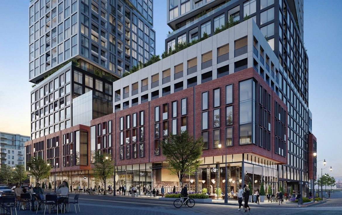 Rendering of Debut Waterfront Residences building exterior at street-level in the evening.