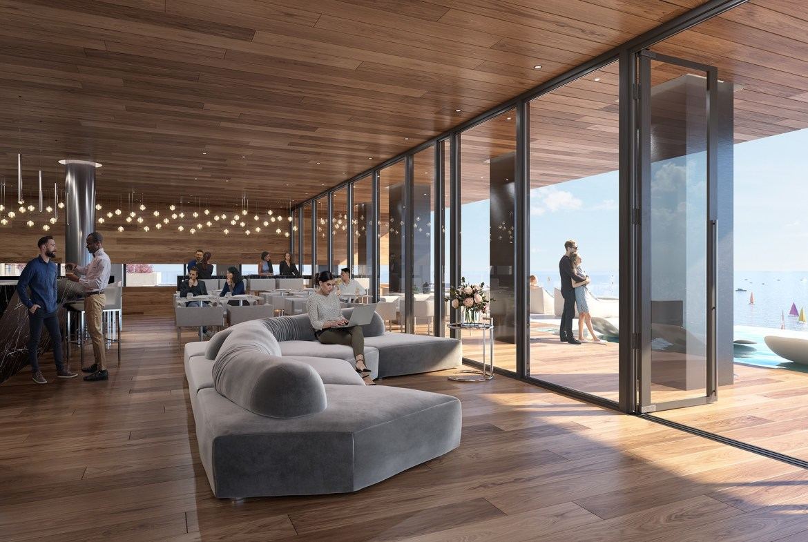 Rendering of Debut Waterfront Residences event space.