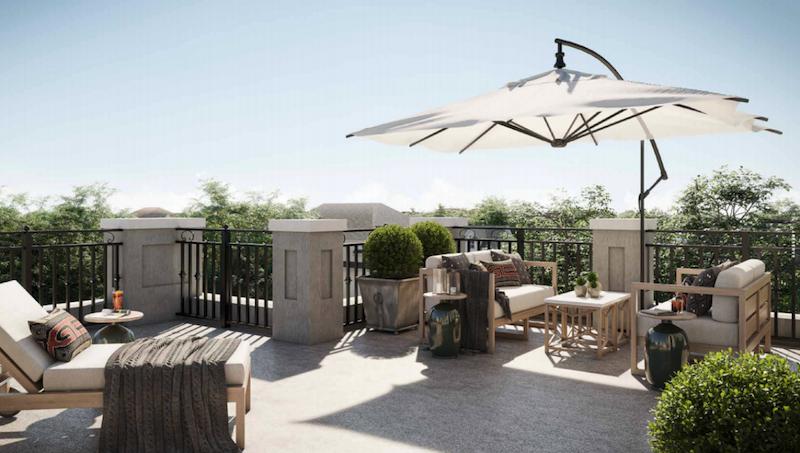 Rendering of La Reserve Towns suite exterior terrace.