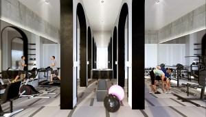 Interior amenity rendering of The Mill Landing condos gym.
