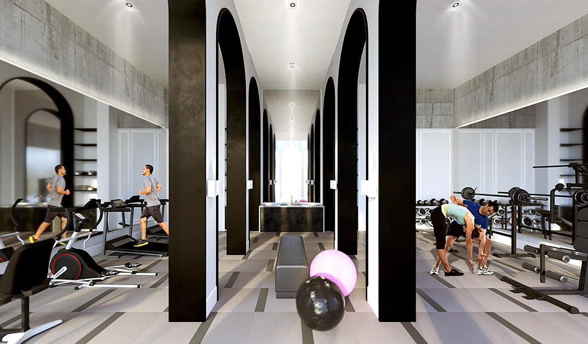 Interior amenity rendering of The Mill Landing condos gym.