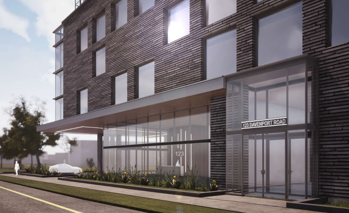 Exterior rendering of 290 Old Weston Road Condos podium with entrance, large windows and sidewalk.