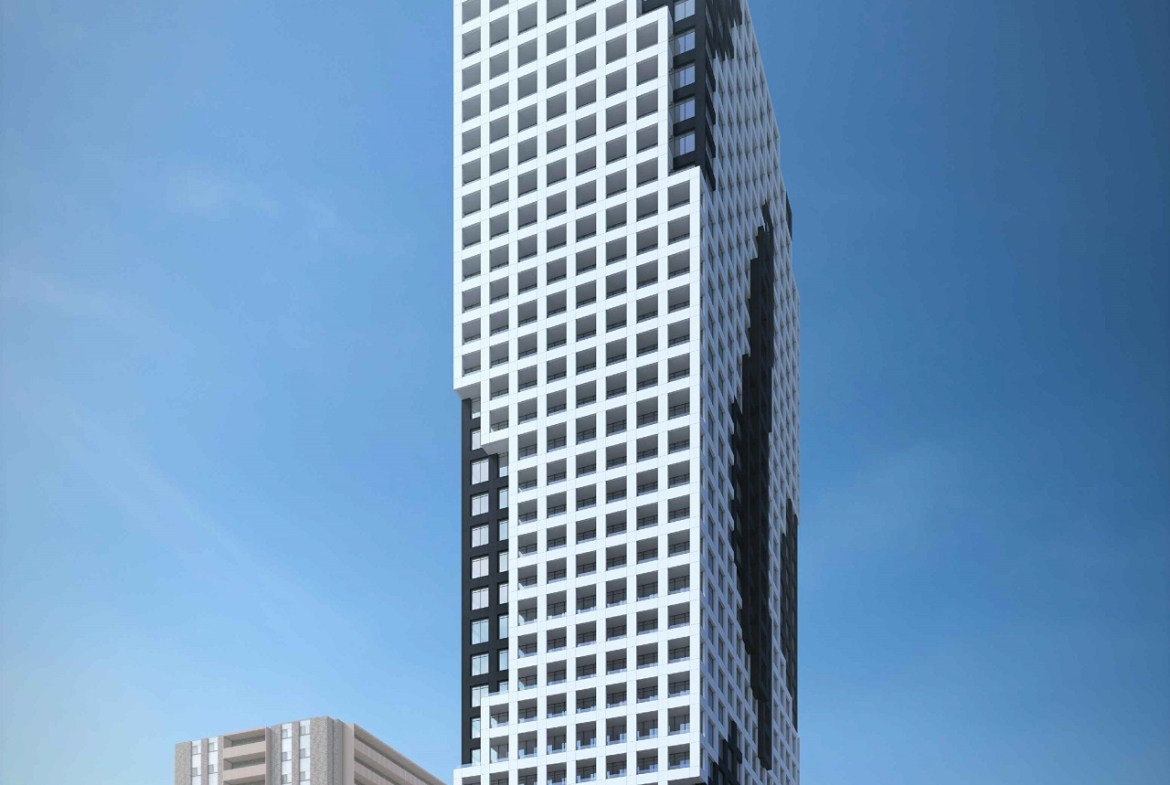 Exterior rendering of 334 Bloor Street West Condos in full view.