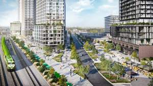Rendering of Grand Central Mimico exterior elevated park