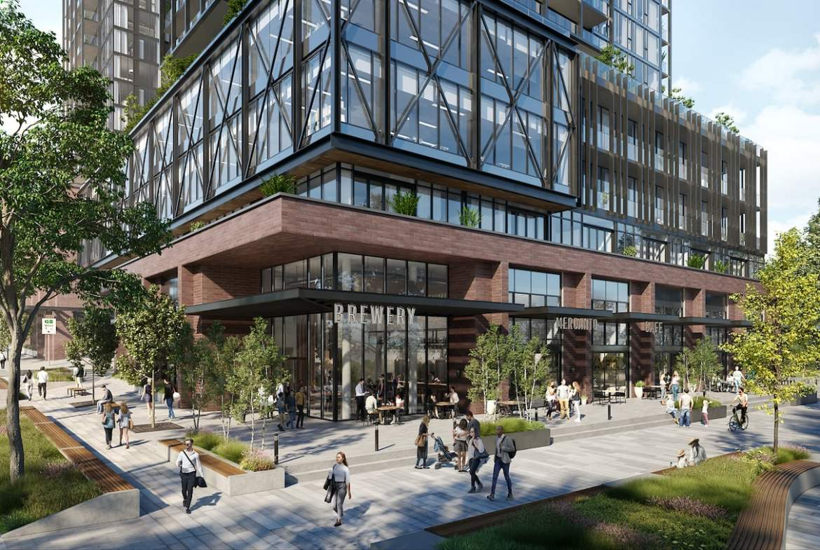 Rendering of Grand Central Mimico exterior streetscape