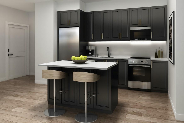 Rendering of NUVO Condos suite kitchen.