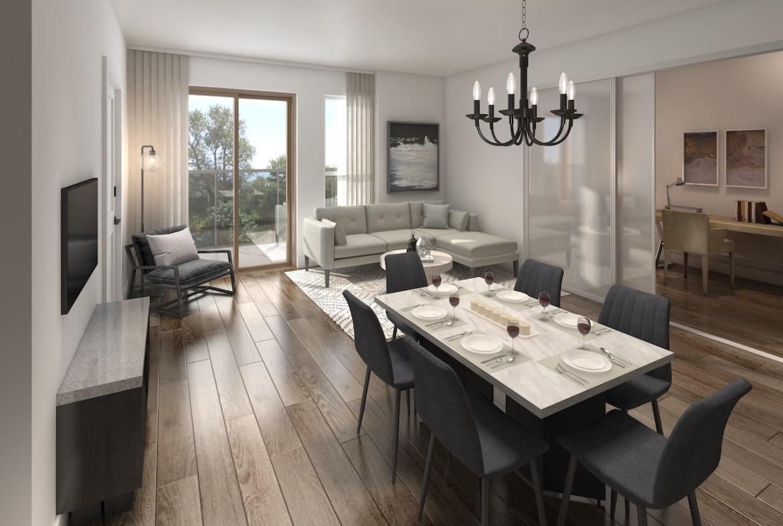 Rendering of NUVO Condos suite living area.