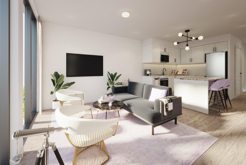 Rendering of NUVO Condos suite livingroom.