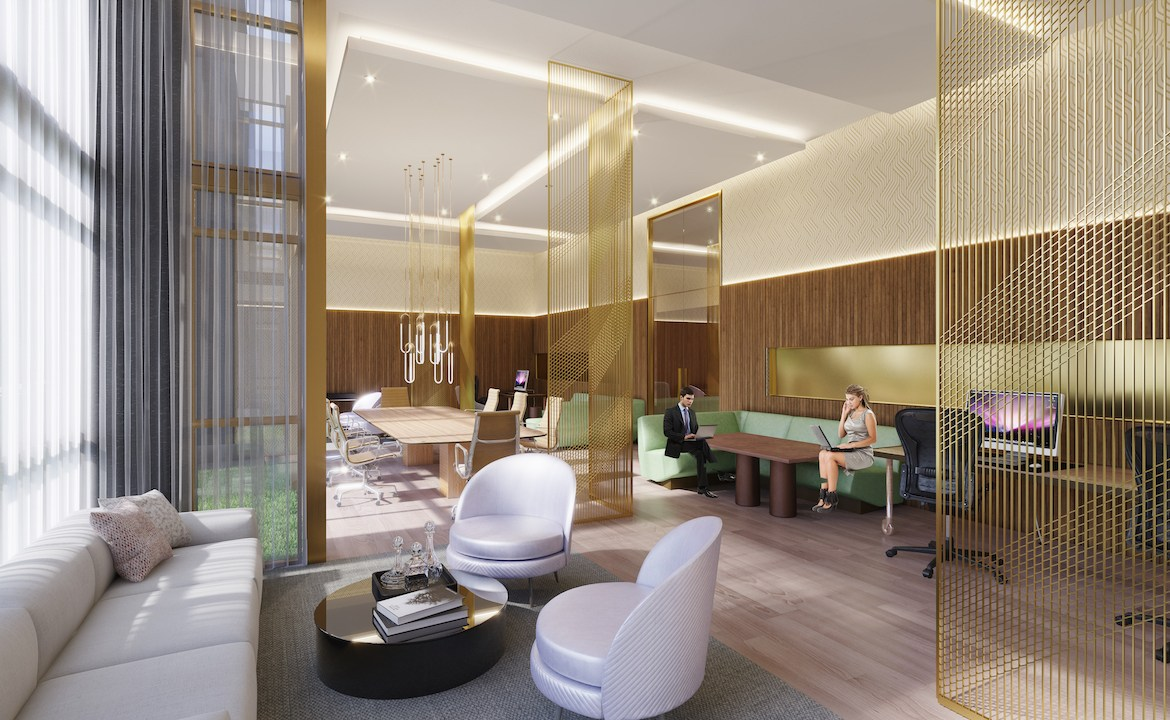 Rendering of NUVO Condos lounge and shared workspace.