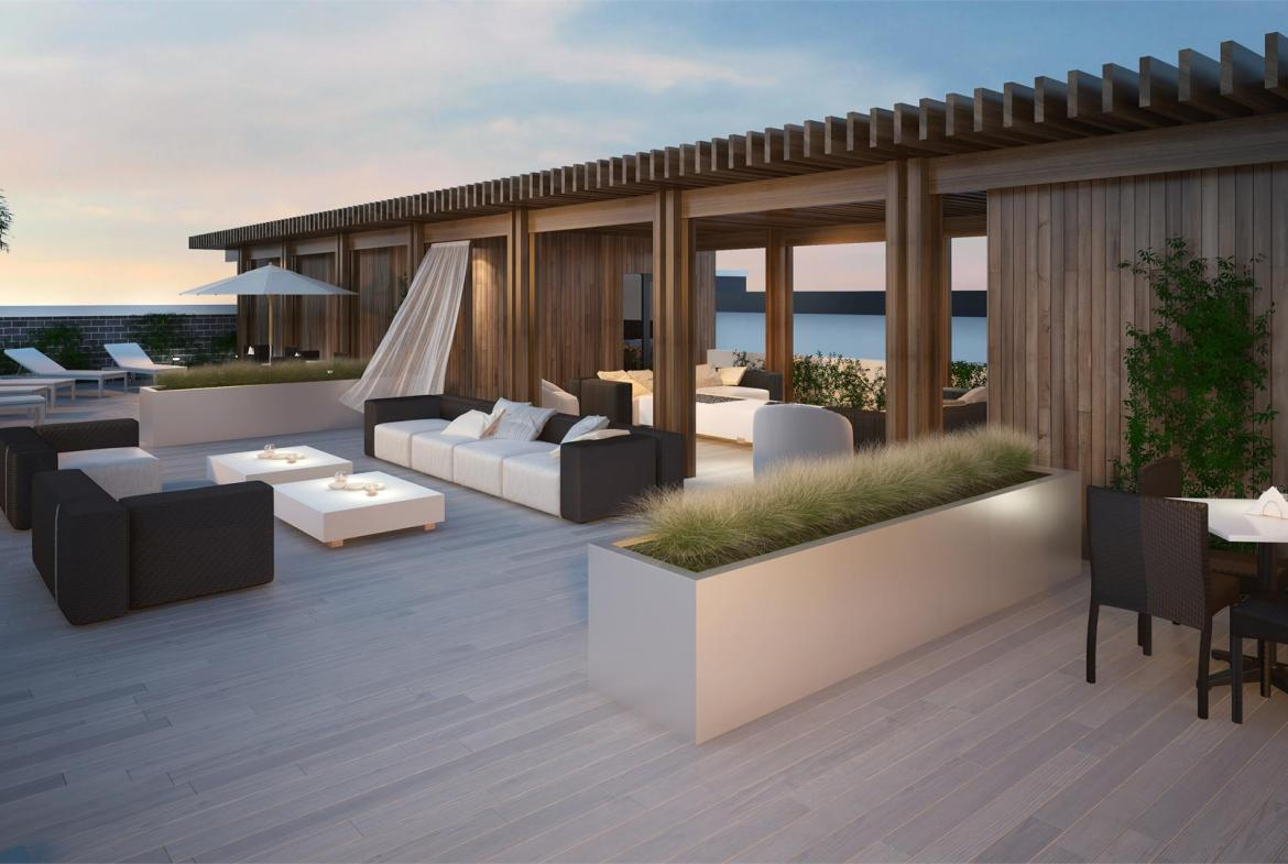 Rendering of Canvas on the Rouge Condos rooftop terrace.