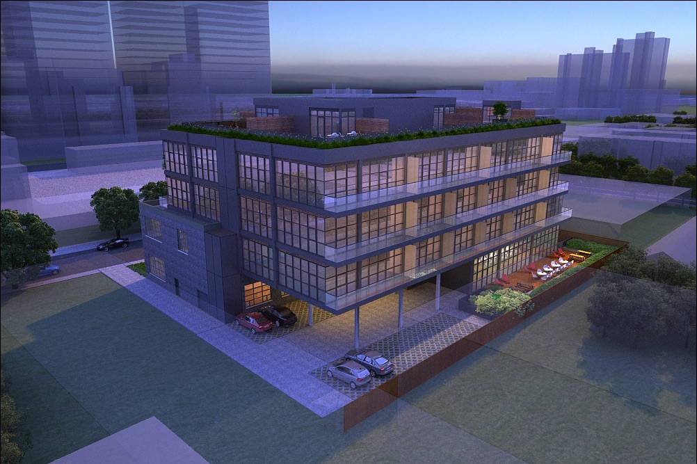 Rendering of Geary Factory Lofts exterior back at night.
