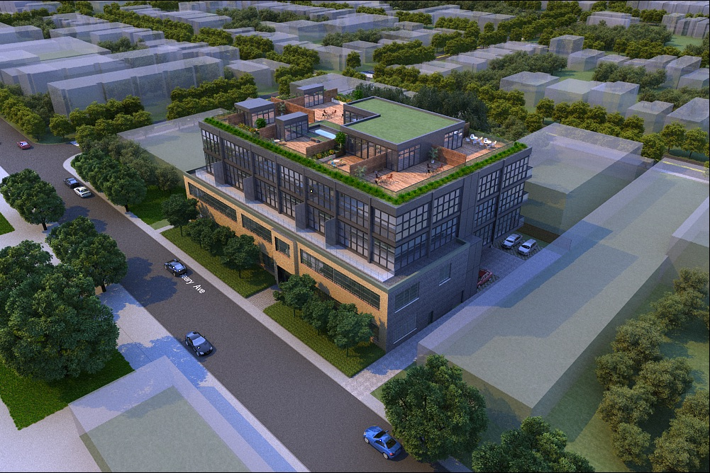 Rendering of Geary Factory Lofts exterior front with rooftop.