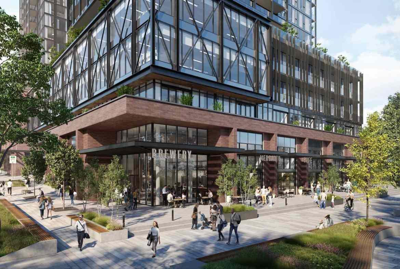 Exterior rendering of Grand Central Mimico Condos streetscape.