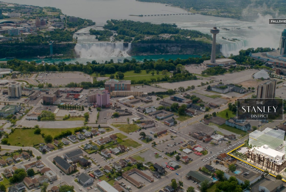 Aerial rendering of The Stanley District Condos in Niagara Falls