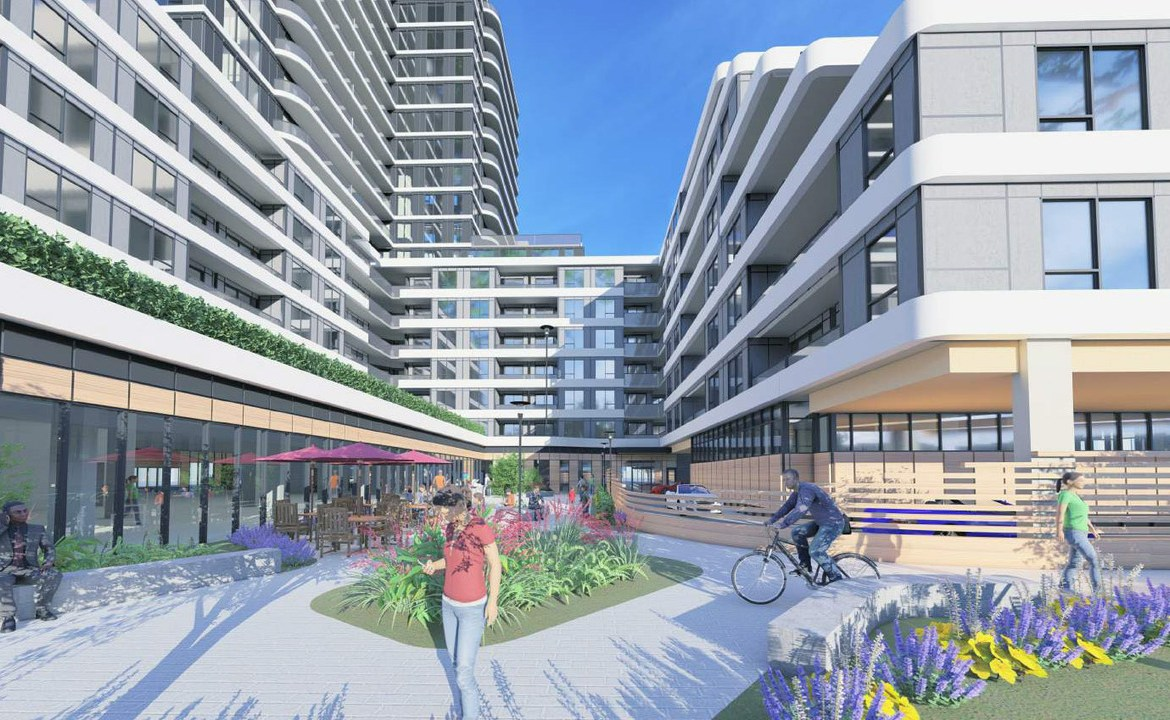 Rendering of 2993 Sheppard East Condos courtyard with seating.