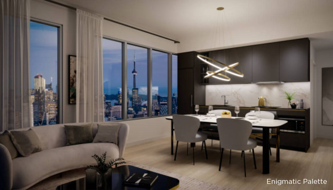 Rendering of 8 Wellesley Residences suite interior Enigmatic Palette