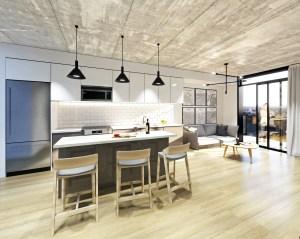 Rendering of Grand Bell Condos suite interior kitchen.