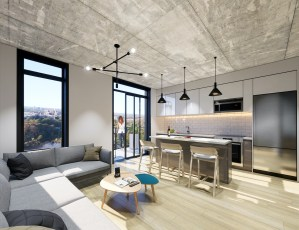 Rendering of Grand Bell Condos suite interior open-concept.