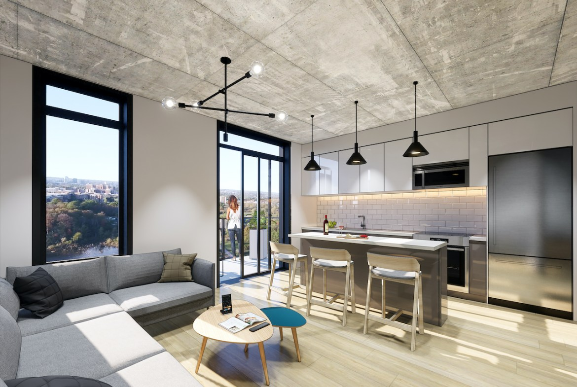 Rendering of Grand Bell Condos suite interior open-concept.