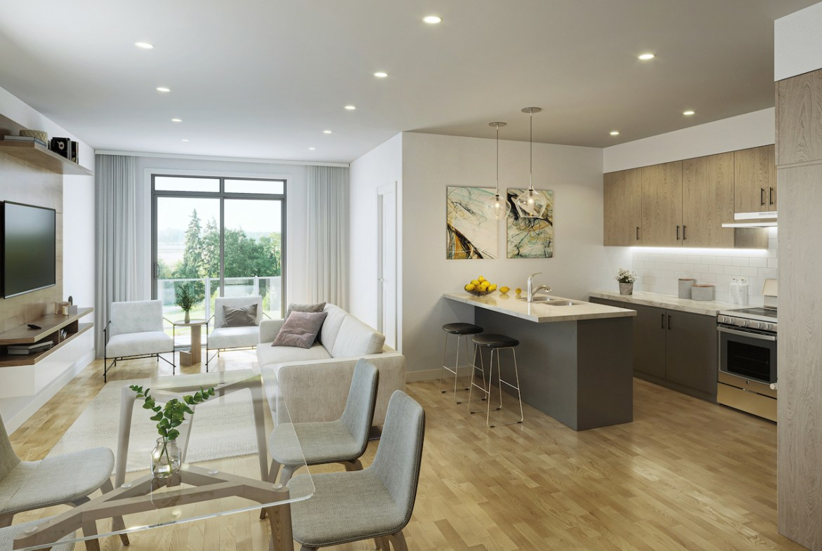 Rendering of Cachet ParQ Towns living with den interior.