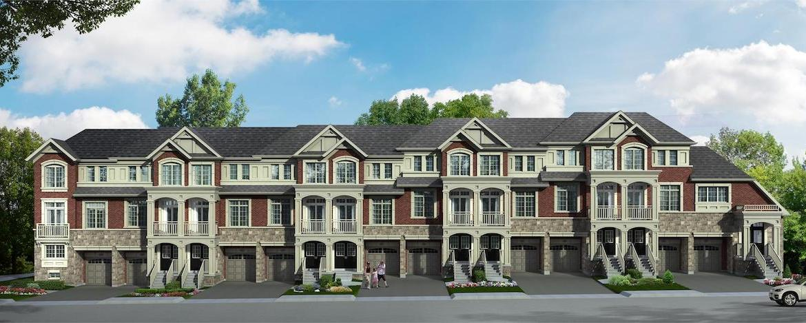 Front rendering of Hilltop towns at Old Harwood in Ajax.