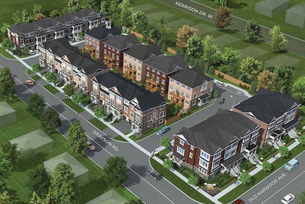 Aerial rendering of Hilltop towns at Old Harwood in Ajax.