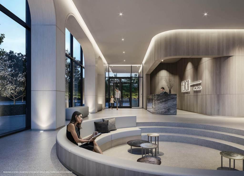 Rendering of Perch Condos lobby with concierge