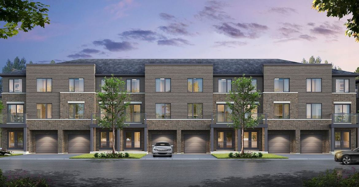 Rendering of the Roxboro towns exterior back-facing with garages.