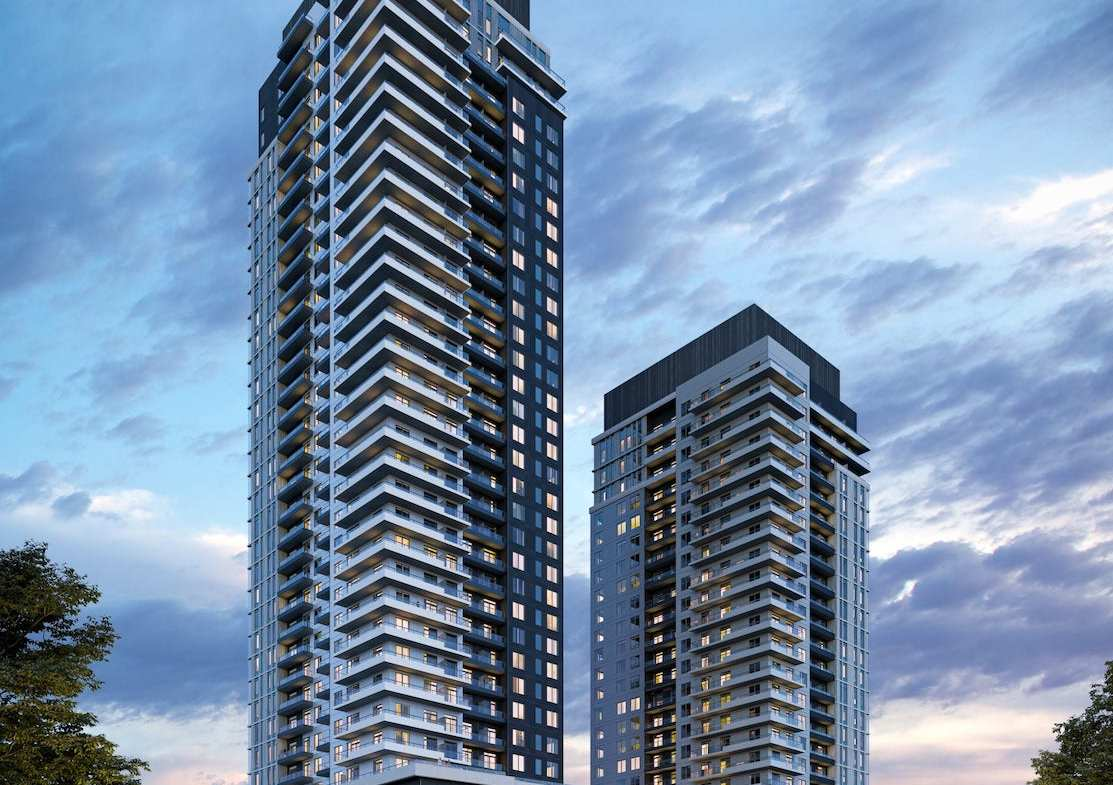 The Vincent Condos exterior at night