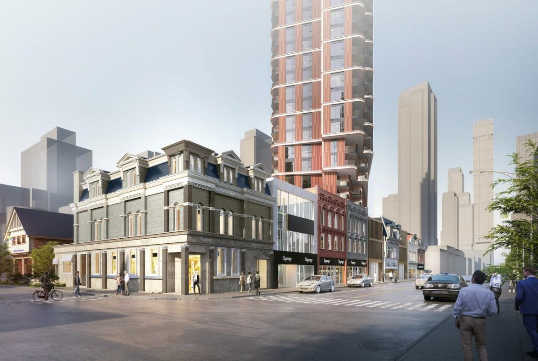 Rendering of 510 Yonge Condos exterior streetview.