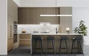 Rendering of Brightwater Towns interior autumn kitchen