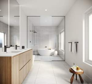 Rendering of Brightwater Towns interior primary ensuite bathroom