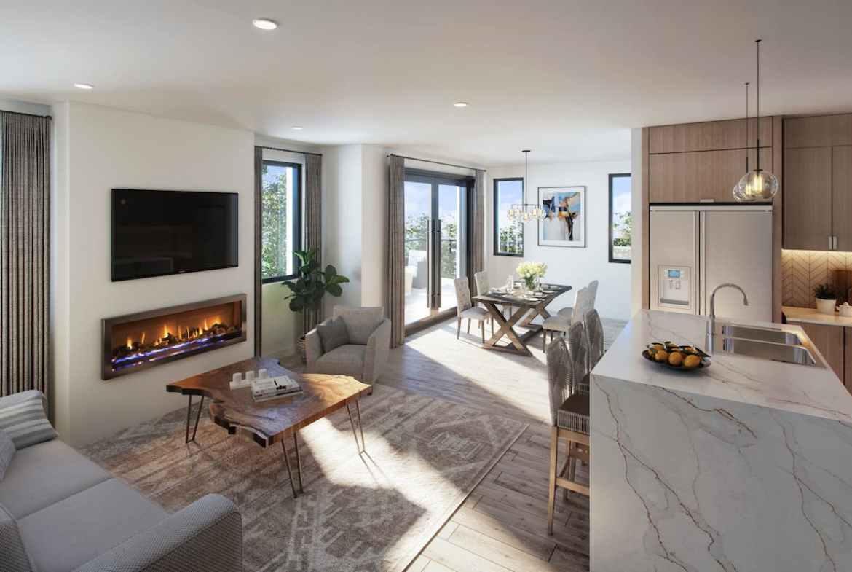 Rendering of The Brix Condos interior living room