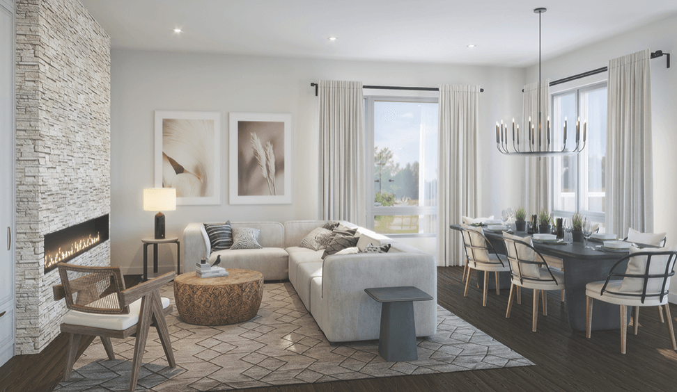 Interior rendering of The Summit Towns contemporary interior.