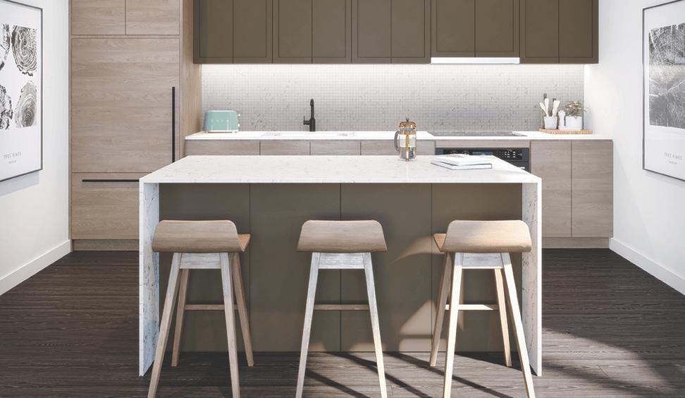 Interior rendering of The Summit Towns stylish kitchen.
