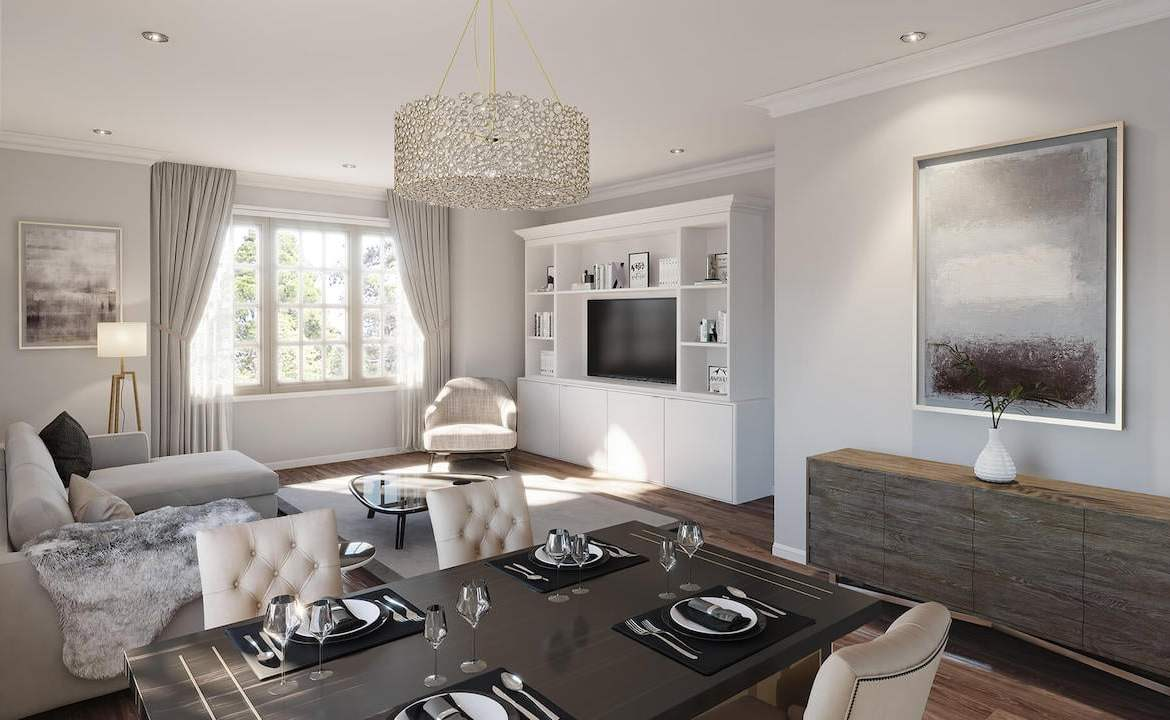 Rendering of The Village at Highland Creek interior living room