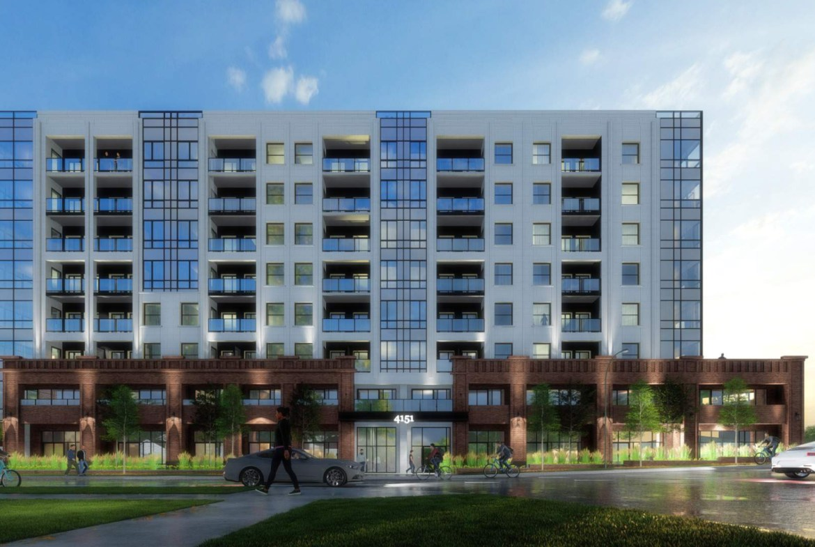 Exterior rendering of 4151 Kingston Road Condos full side view at dusk