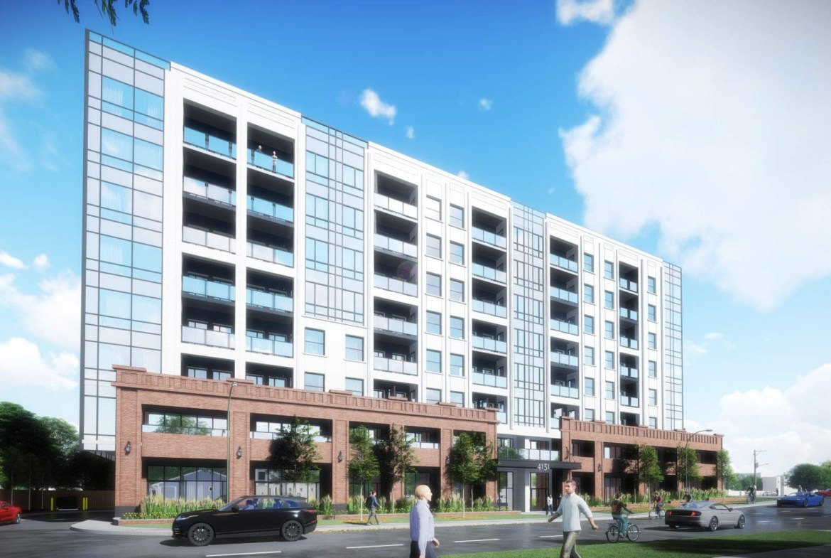 Exterior rendering of 4151 Kingston Road Condos side view