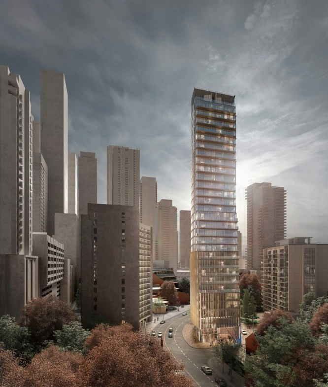 Rendering of 717 Church Street Condos amongst Toronto cityscape