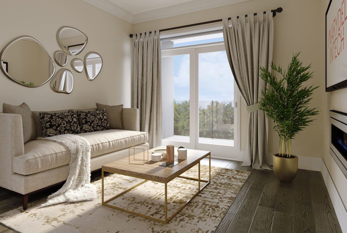 Rendering of Montebello Condos interior living room
