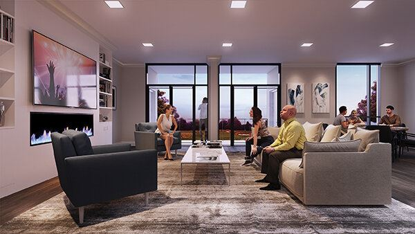 Rendering of Montebello Condos lounge