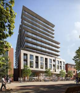 Rendering of 1 Jarvis Condos exterior corner view