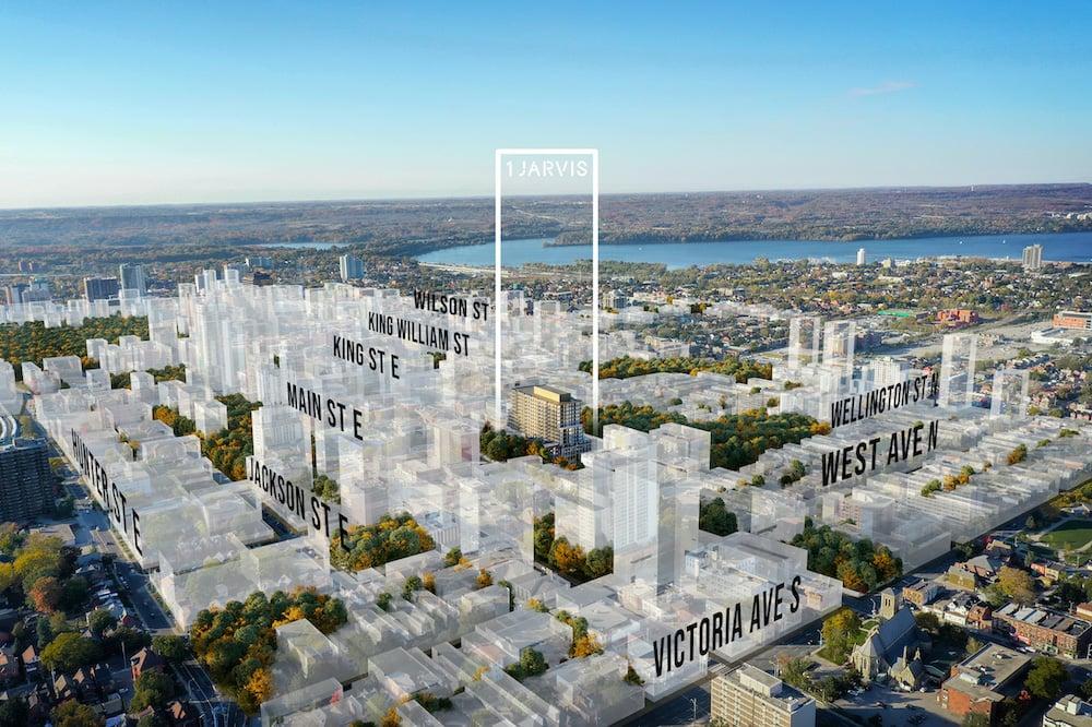 Rendering of 1 Jarvis Condos aerial of Hamilton future