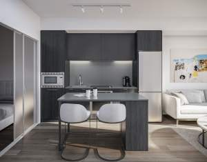Rendering of 1 Jarvis Condos suite kitchen with island ombre